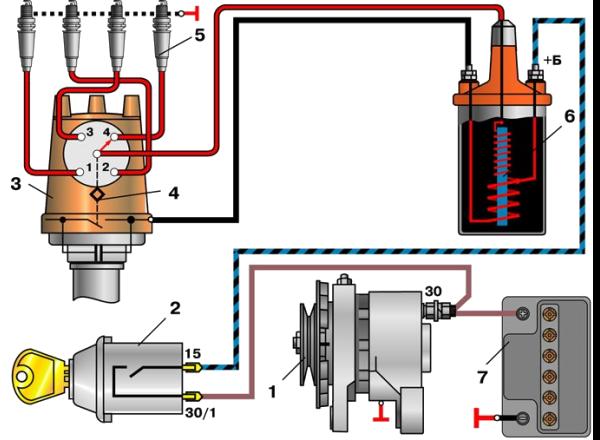 Схема подключения катушки