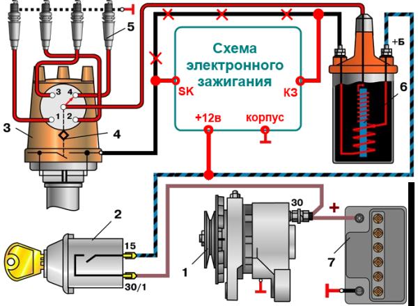 Схема электронного зажигания автомобиля