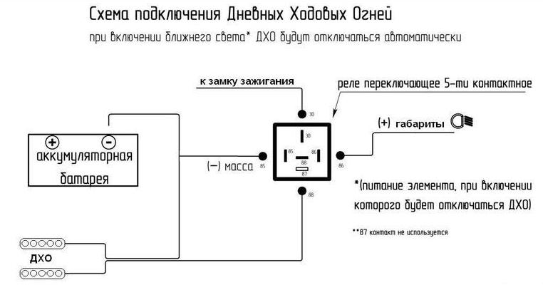 Схема подключения дневных ходовых огней