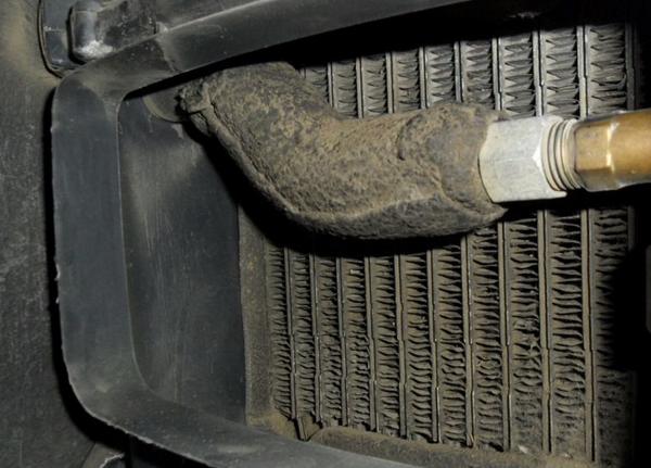 Фото загрязненного испарителя автомобильного кондиционера