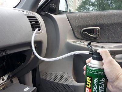 Чистка кондиционера авто через воздуходувы