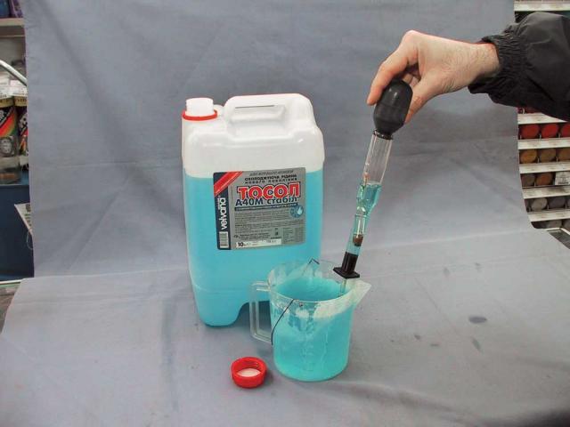 Разбавление синего антифриза водой