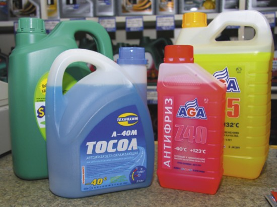 Разные цвета охдаждающих жидкостей