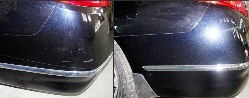 Поцарапанный бампер до и после покраски