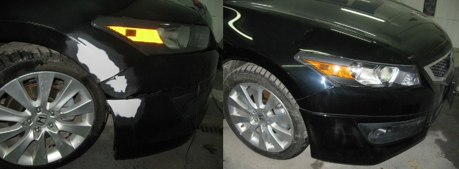 Битый бампер до и после покраски
