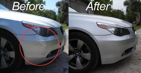 Бампер со вмятиной до и после ремонта